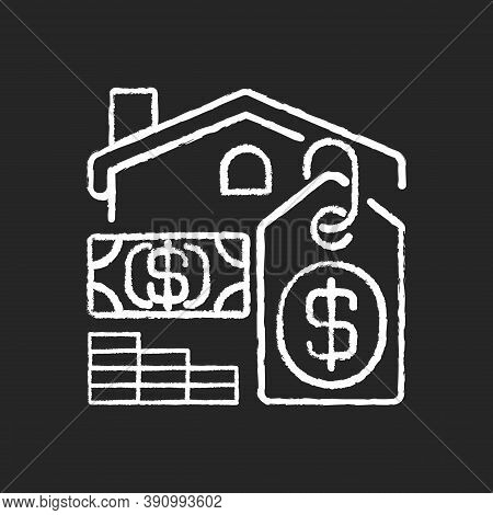Price Chalk White Icon On Black Background. House Mortgage. Buying Home. Finance Investment. Residen