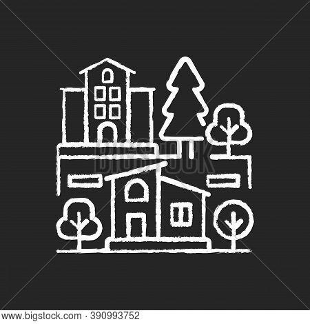 Neighborhood Chalk White Icon On Black Background. Downtown District. Suburban Living. Property Type