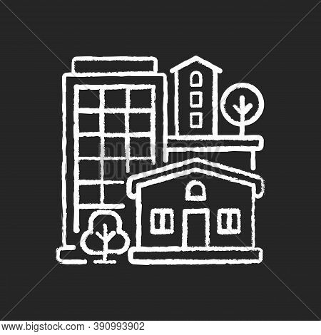 Property Type Chalk White Icon On Black Background. Office Building In Downtown. Residential House F