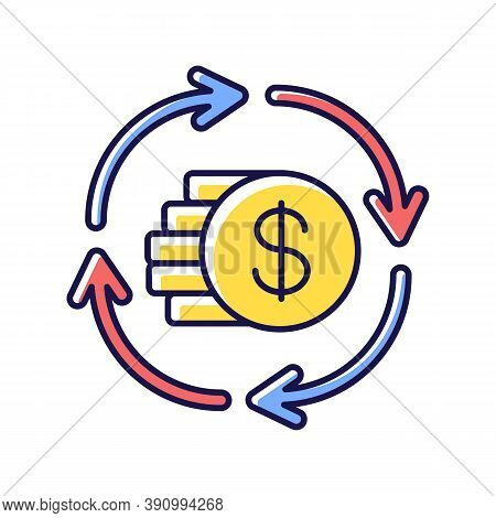 Capital Synergy Rgb Color Icon. Income From Banking Operation. Financial Exchange. Money Conversion.