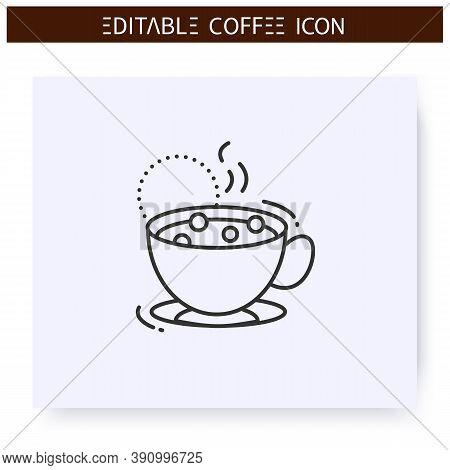 Marocchino Coffee Line Icon. Type Of Coffee Drink. Double Espresso With Cocoa Powder And Milk Foam.