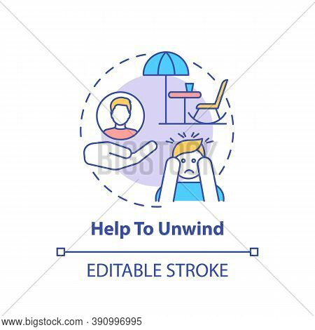 Help To Unwind Concept Icon. Me Time Benefits. Refresh Everyday Advices. Relax Your Mind And Body Id