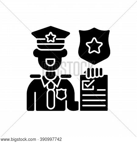 Law Enforcement Black Glyph Icon. Police Officer. Cop. Sheriff. Maintaining Public Order And Safety.