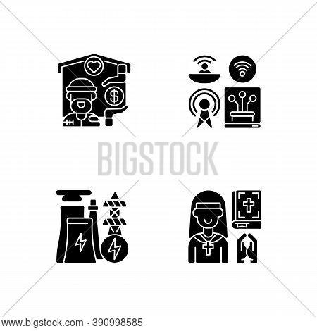 Fundamental Services Black Glyph Icons Set On White Space. Homeless Shelter. Telecommunication Servi