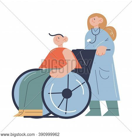 Young Doctor Rolling Man Patient In Wheelchair During Rehabilitation Program