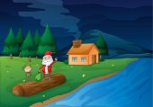 illustration of santa clause and an elve in nature poster