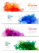 Collection of colorful abstract watercolor banners. Vector poster