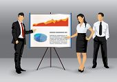 Illustration of business people making a presentation with the use of a white board showing pie-charts and graphs poster