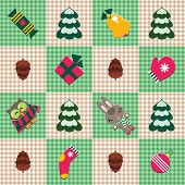 Vector seamless checked pattern with christmas decorations and cute animals. poster