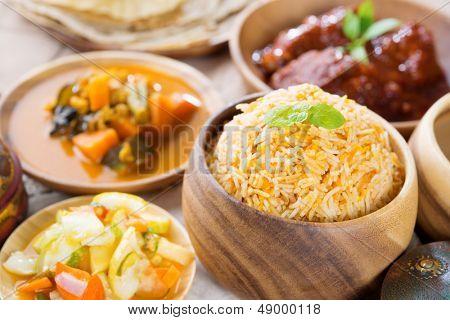 Biryani rice or briyani rice, fresh cooked basmati rice, delicious indian cuisine.