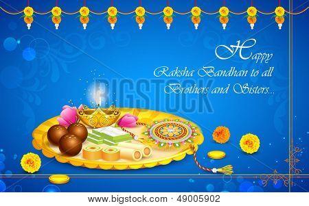 illustration of decorated thali with rakhi for raksha bandhan