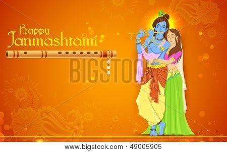 illustration of hindu goddess Radha and Lord Krishna on Janmashtami poster