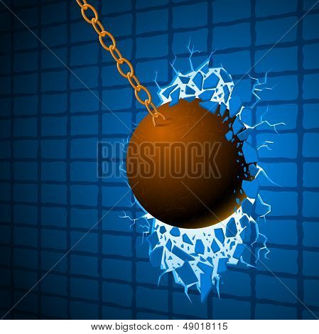 The Wrecking ball & blue wall