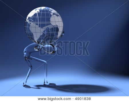 cristal dummy carring a world globe on his back poster