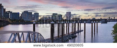 Portland Oregon Waterfront Skyline by the Boat Dock Along Willamette River at Sunset Panorama poster
