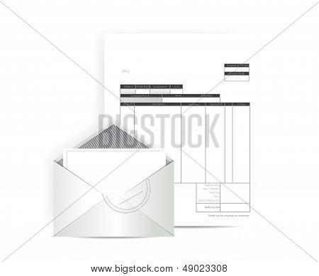 Invoice Receipt Mail Illustration Design