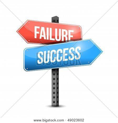 Failure Versus Success Road Sign Illustration