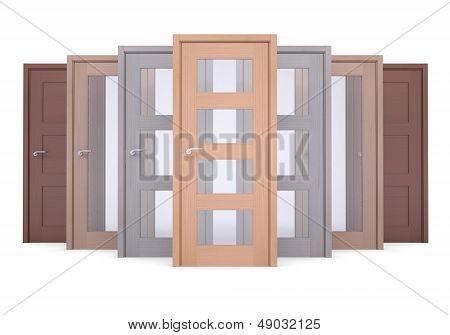 Group of wooden doors