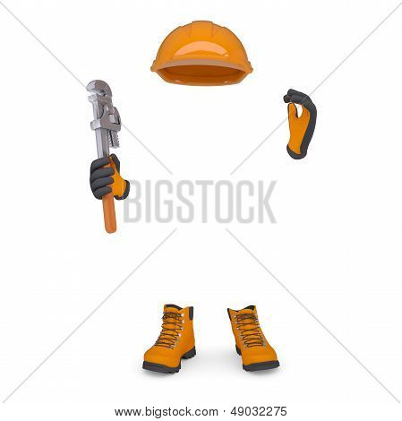 Boots, gloves, helmet and wrench