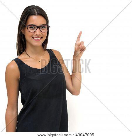 Twenty Year Old Brunette wearing glasses