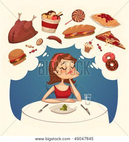 Girl on a diet. Tasty desires. Vector illustration.