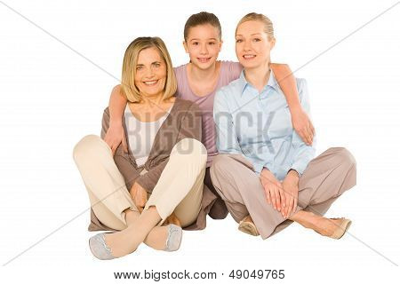 Granddaughter Grandmother Young Mother Sat On White Background