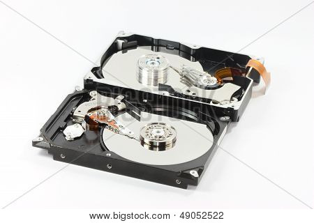 Pair Of Hard Disk On White Backgound
