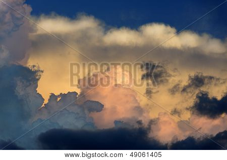 Pink And Blue Sunset Clouds