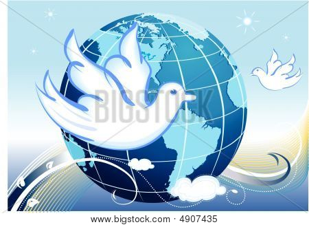 Peace To Our World With White Doves