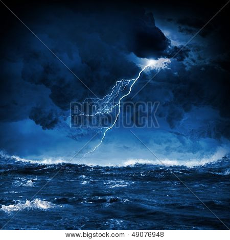 Thunderstorm in sea