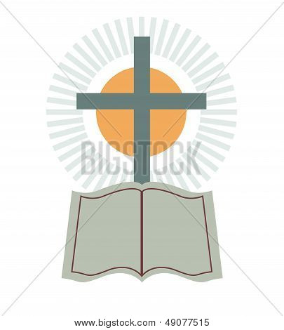 Vector Cross & Bible Religious made in 2d software poster