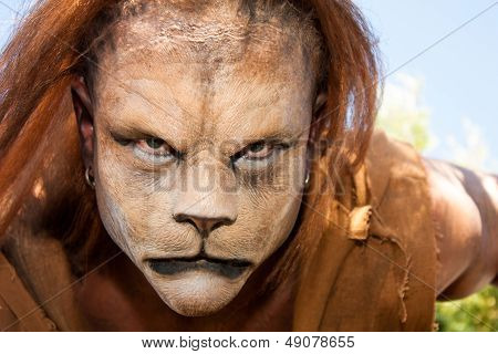 Lion Man Meancing Close Up