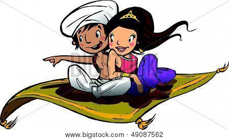 Aladdin on a flying carpet