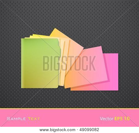 Green Folder With Colorful Papers. Vector Design.