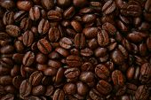 Fragrant fried coffee beans can use as background poster