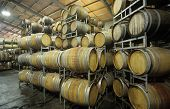 Wine barrels in storage shed poster