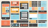 Modern UI flat design vector kit in trendy color with simple mobile phone buttons forms and other interface items. Isolated on white background. poster