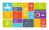 Modern colorful user interface vector layout in flat design with simple square forms buttons widgets and navigation icons. Windows 8 modern ui design. Isolated on white background. poster