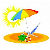 frog on the paradise beach vector illustration poster