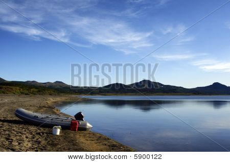 On lake.