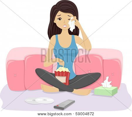 Illustration of a Girl Crying While Watching a Movie