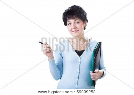 Woman With Office Suplies
