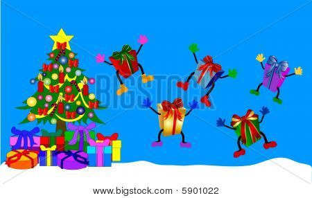 Jumping giftboxes with christmas tree