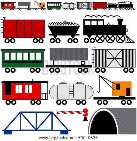 Train Engine And Cars