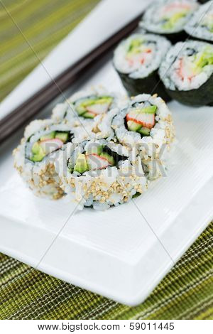 Ready To Eat Sushi On White Plate