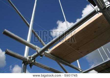 Scafolding Against Blue Sky