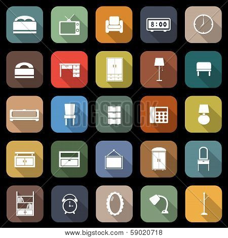 Bedroom Flat Icons With Long Shadow