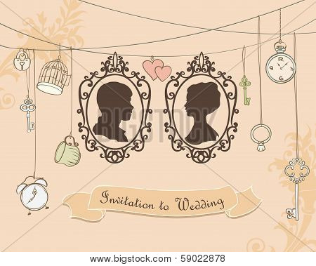 Vector Vintage Wedding Invitation Card.