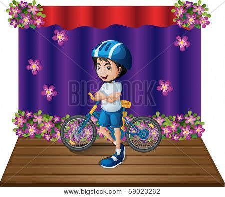 Illustration of a stage with a male biker standing in the middle on a white background