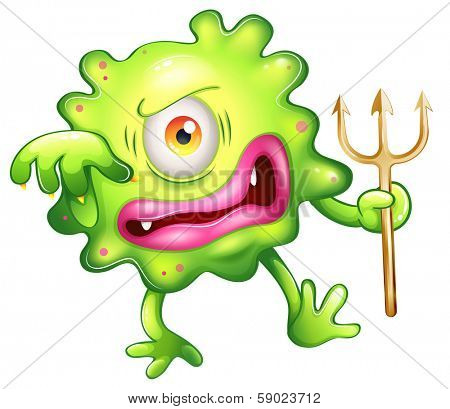 Illustration of a horrified looking green monster on a white background